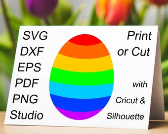 Rainbow Easter Egg SVG file with 7 colorful bands painted on its shell, red, orange, yellow, green, indigo, blue, purple