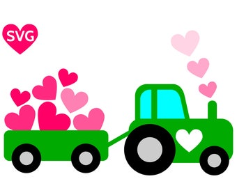 A cute Love Tractor with Hearts SVG design for Valentine's Day