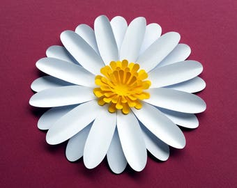 Easy DIY Daisy / Gerbera Paper Flower Template SVG and PDF to cut with a Cricut or Silhouette or print and handcut. Daisies Digital Tutorial