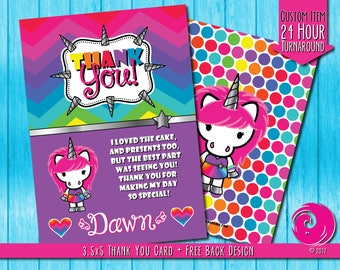 CUSTOMIZED ITEM: Magical Unicorn Rainbow Birthday Party Celebration Thank You Card Cards Hello Pony Kitty Pride PDF