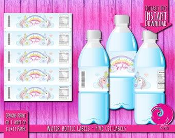 CUSTOMIZED ITEM: Magical Unicorn Pastel Rainbow Birthday Party Celebration Water Bottle Labels Card Diamonds Bows Stars Wand Scepter PDF