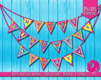 INSTANT DOWNLOAD: Magical Unicorn Rainbow Birthday Party Celebration Pennant Banner Bunting Hello Pony Brony Kitty Pride PDF