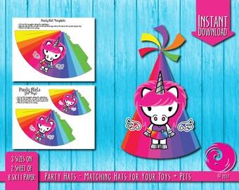 INSTANT DOWNLOAD: Magical Unicorn Rainbow Birthday Party Celebration Hat Hats Hello Pony Brony Kitty Pride PDF