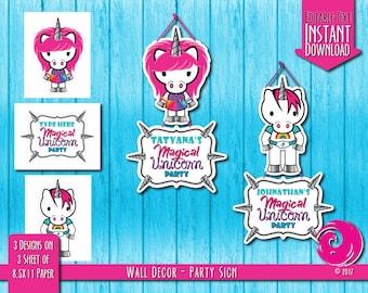 INSTANT DOWNLOAD - Editable: Magical Unicorn Rainbow Birthday Party Celebration Hanging Wall Sign Hello Pony Brony Kitty Pride PDF