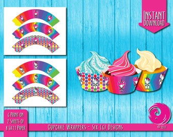 INSTANT DOWNLOAD: Magical Unicorn Rainbow Birthday Party Celebration Cupcake Wrappers Cup Cake Wrapper Hello Pony Kitty Pride PDF