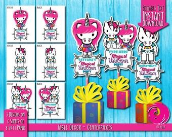 INSTANT DOWNLOAD - Editable: Magical Unicorn Rainbow Birthday Party Celebration Centerpieces Center Pieces Hello Pony Brony Kitty Pride PDF