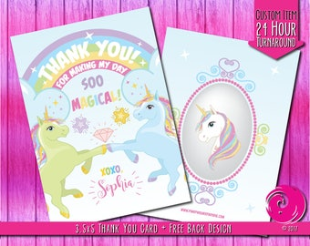 CUSTOMIZED ITEM: Magical Unicorn Pastel Rainbow Birthday Party Celebration Thank You Card Diamonds Bows Stars Wand Scepter PDF