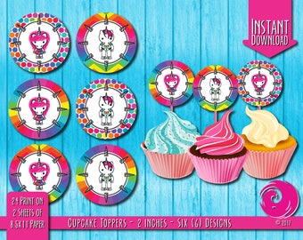 INSTANT DOWNLOAD: Magical Unicorn Rainbow Birthday Party Celebration Cupcake Topper Cup Cake Toppers Hello Pony Kitty Pride PDF