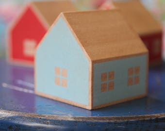 Turquoise wooden house / home decor Danu / House Danu