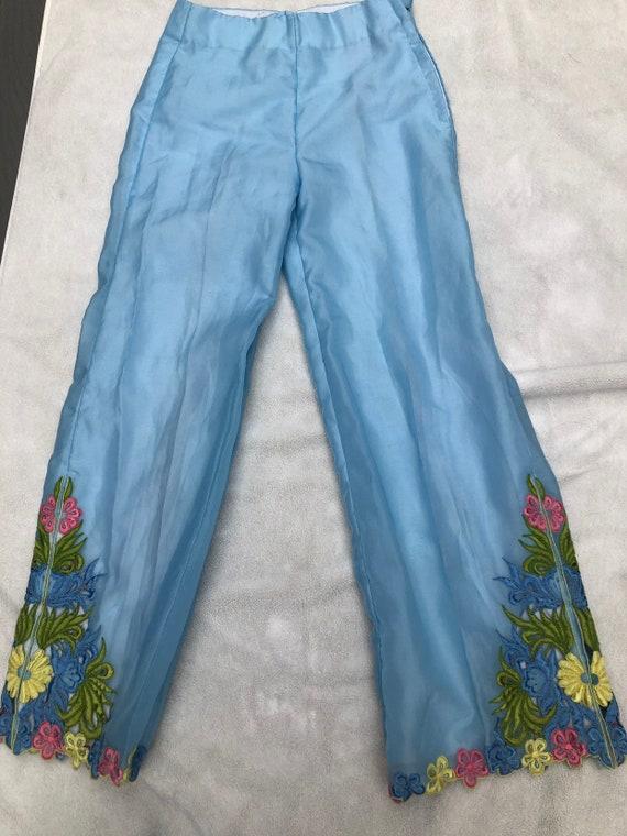 Vintage 1960s Set// Floral Embroidery// Flares//P… - image 4