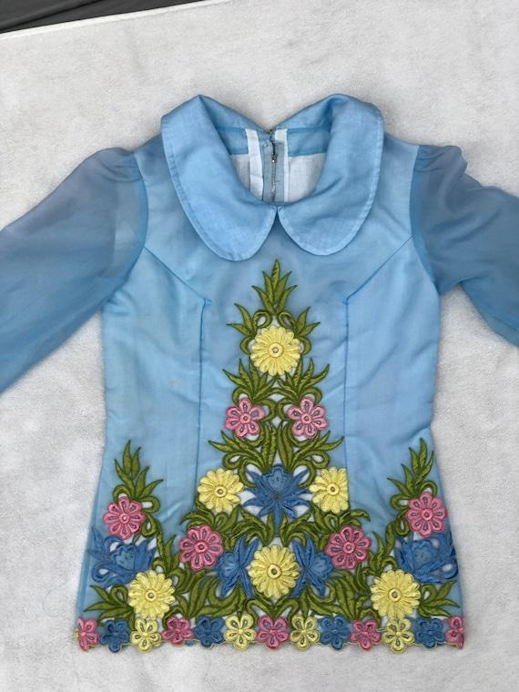 Vintage 1960s Set// Floral Embroidery// Flares//P… - image 3