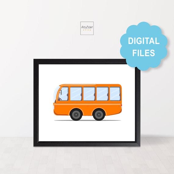 City bus printable for kids playroom, Transportation wall art for boy room,  Bus nursery decor for children, Kids room decor