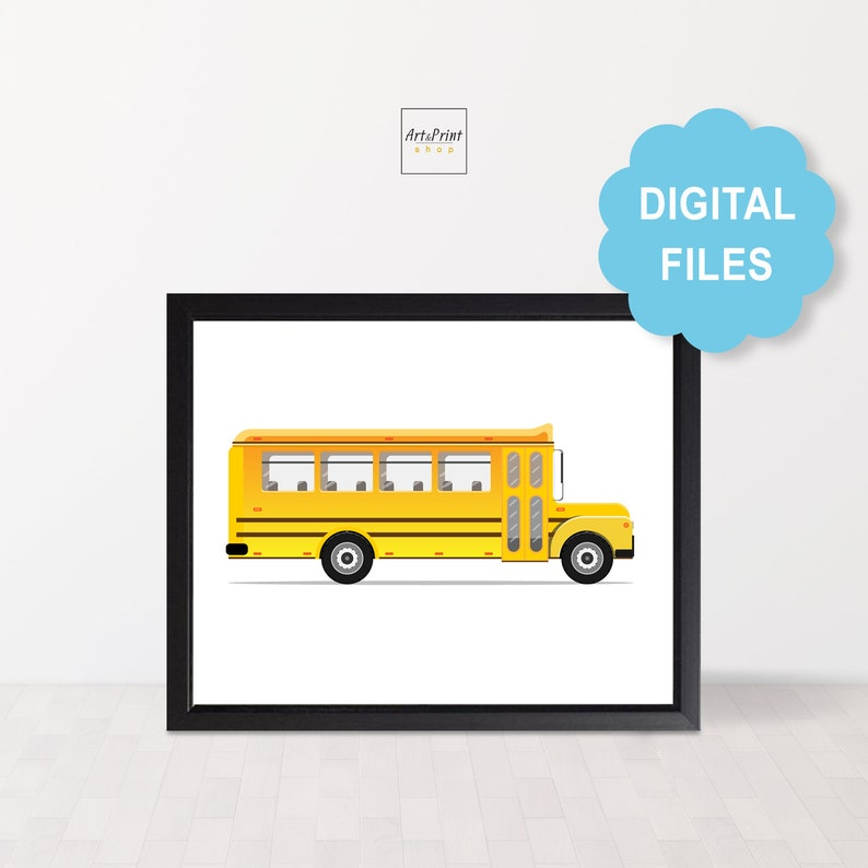 photo relating to Bus Printable known as Faculty bus printable for children, Nursery playroom decor for infants, Bus print for boy area, Wall artwork electronic consider for young children