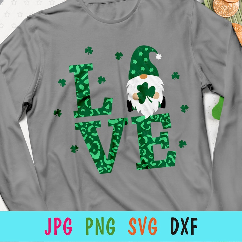 Clover love SVG for Patrick Day St Patricks Day gnome SVG for cricut Love gnome with shamrock print for t-shirt