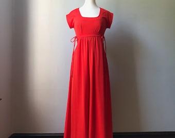 3b06b4b47b8 Vintage 1970s Electric Red Sears Maxi Dress Side Ties Sz XS S