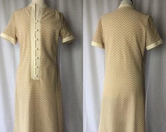 Vintage 70s Style Beige Wavy Semi-Sheer Dress