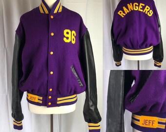 Vintage 80s 90s Purple Varsity Letterman Jacket