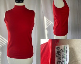 Vintage 70s Red Society Brand Sleeveless Top