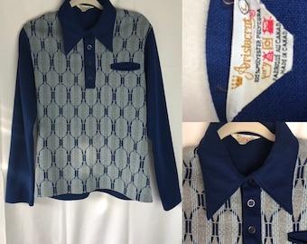 Vintage 1970s Menswear Aristocrat Polyester Shirt L Groovy
