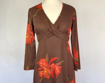 c7d144630026 Vintage 1960s Sears Fashions Tropical Maxi Dress Polka Dot Floral Orange  and Brown