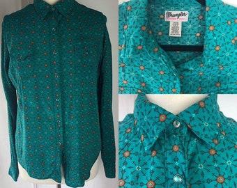 Vintage Wrangler Teal & Orange Pattern Shirt Sz L