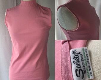 Vintage 70s Pink Society Brand Sleeveless Top