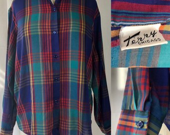Vintage 70s 80s Terry Chicago Plaid Button-Down Shirt