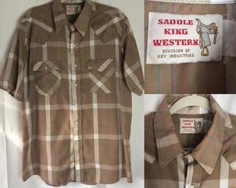 Vintage Menswear Saddle Western King Plaid Short-Sleeve Shirt XL