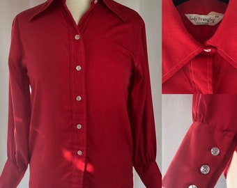 Vintage Lady Wrangler Red Button-Down Shirt
