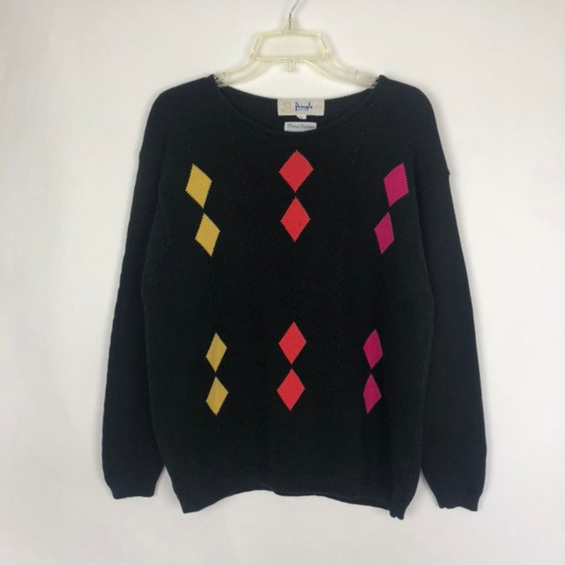 Vintage Pringle of Scotland Diamond Pullover Sweater Small Hand Intarsia