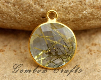 Chinese Green Hydro Quartz 20x25mm Pear Briolette 925 Sterling Silver Gold Plated Bezel Pendant With Double Loops