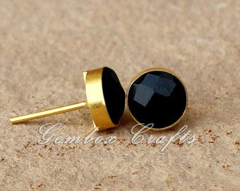 Black Onyx Round Cabochon 925 Sterling Silver Gold Plated Smooth Finish Stud Earrings