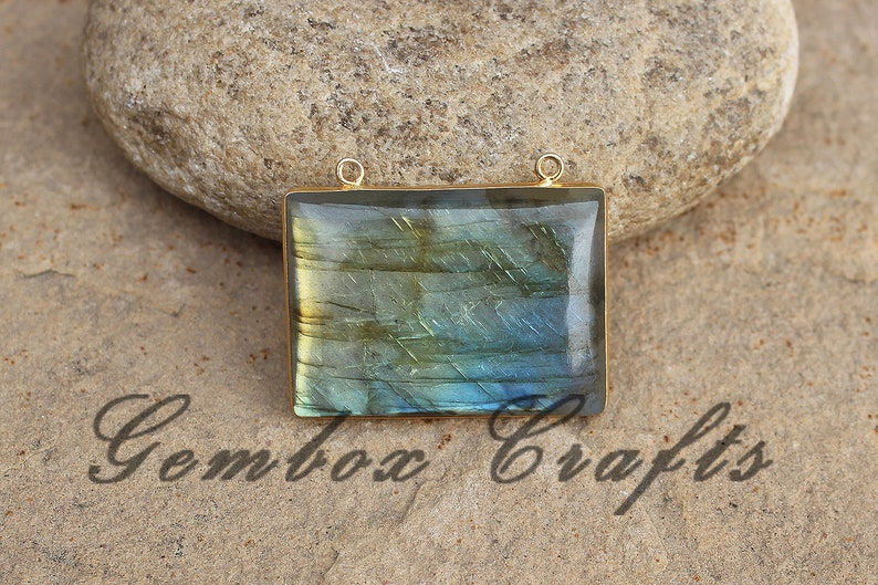 Natural Labradorite 34x24mm Rectangle Cabochon 925 Sterling Silver Plated Bezel Pendant With Loop