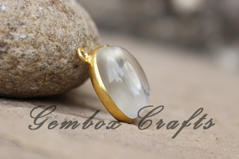 Crystal Hydro Quartz 22mm Round Cabochon 925 Sterling Silver Gold Plated Bezel Pendant With Two Loops