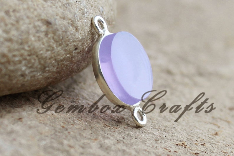 Lavender Hydro Quartz 28mm Round Both Side Flat Smooth 925 Sterling Silver Plated Bezel Connector