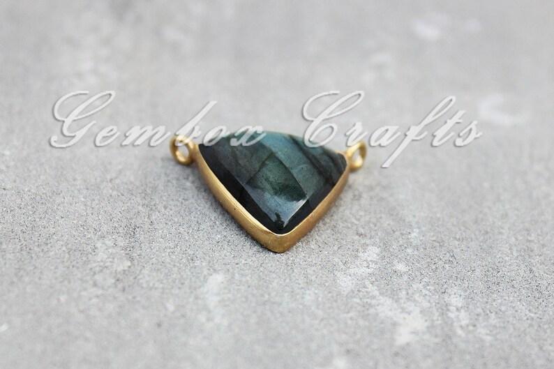 Labradorite-mounted macram\u00e9 pendants