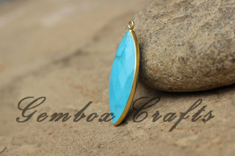 Imitation Turquoise 17x34mm Marquise Briolette 925 Sterling Silver Gold Plated Bezel Pendant