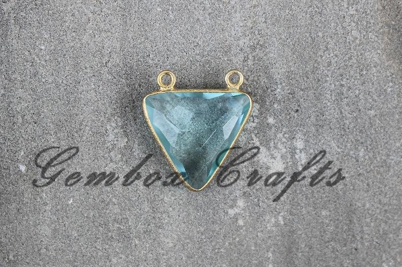 Sky Blue Topaz Quartz 20mm Triangle Briolette 925 Sterling Silver Gold Plated Bezel Double Bail Pendant