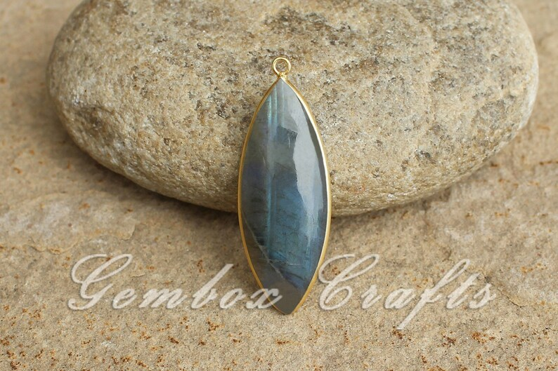 Natural Labradorite 17x34mm Marquise Cabochon 925 Sterling Silver Gold Plated Bezel Pendant