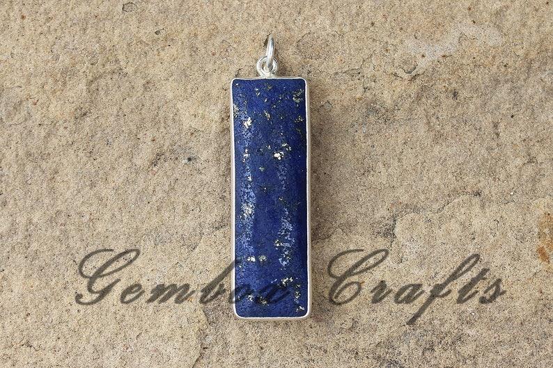 Natural Lapis Lazuli 10x30mm Rectangle Briolette 925 Sterling Silver Plated Bezel Double Bail Pendant