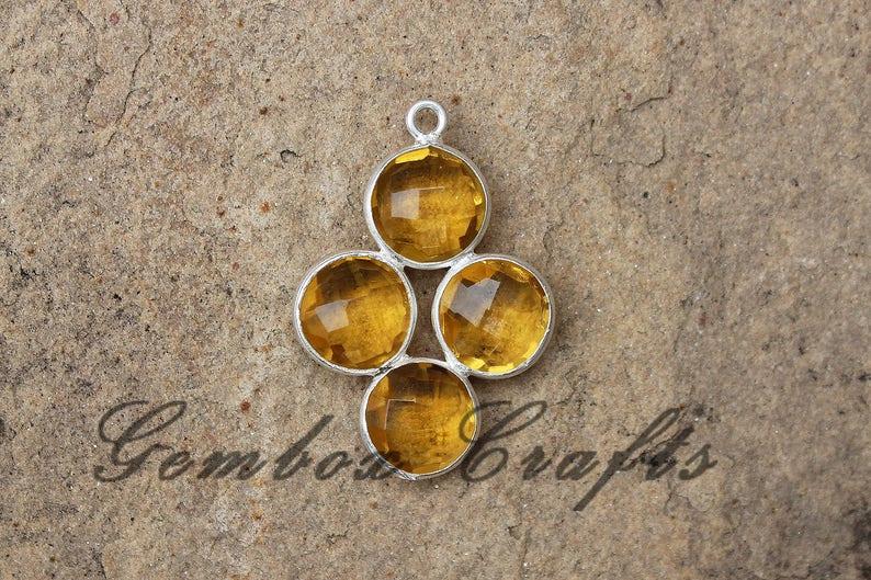 Citrine Quartz 8mm Round Four Stone Briolette 925 Sterling Silver Gold Plated Bezel Pendant