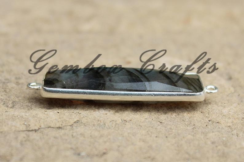 Natural Labradorite 10x40mm Rectangle Briolette 925 Sterling Silver Plated Bezel Connector