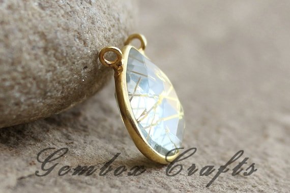 Black Onyx 18mm Triangle Briolette 925 Sterling Silver Gold Plated Bezel Double Bail Pendant