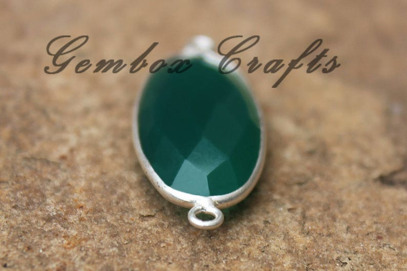 Green Onyx Marquise Briolette 925 Sterling Silver Gold Plated Bezel Double Bails Pendant