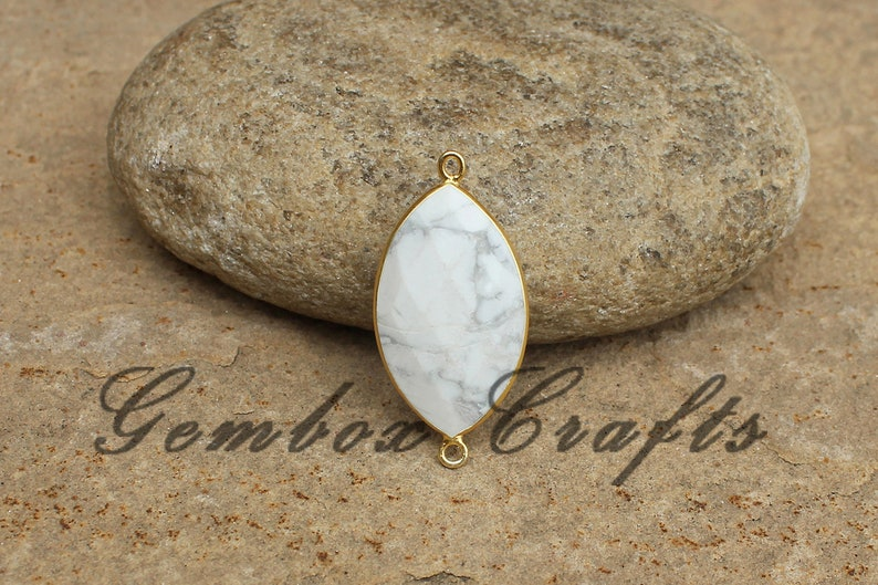 Howlite 19x38mm Marquise Briolette 925 Sterling Silver Gold Plated Bezel Connector
