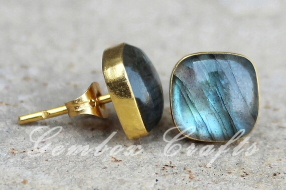 Labradorite 10mm Square Faceted 925 Sterling Silver Gold Plated Bezel Ring
