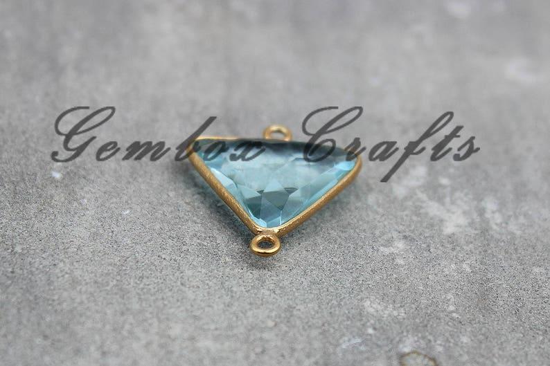 Sky Blue Topaz Quartz 22mm Triangle Briolette 925 Sterling Silver Gold Plated Bezel Connector