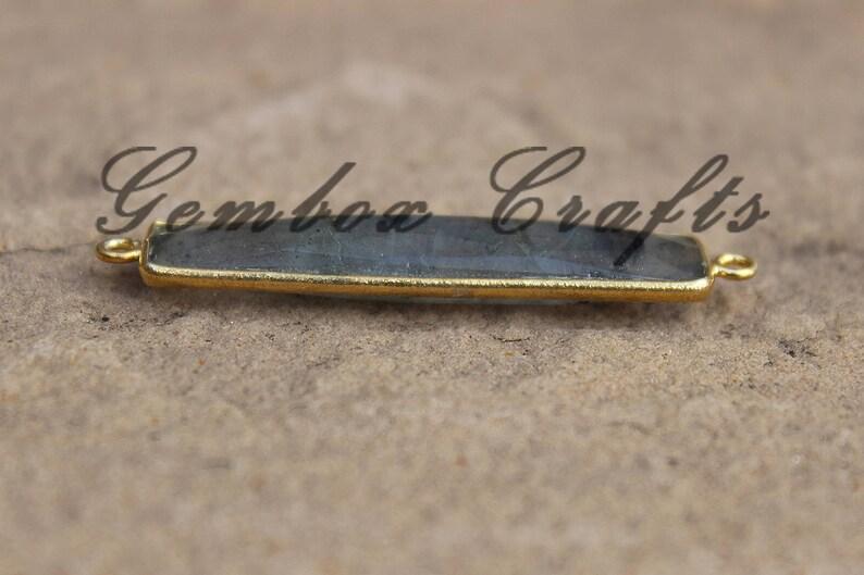 Natural Labradorite 8x40mm Rectangle Briolette 925 Sterling Silver Gold Plated Bezel Connector