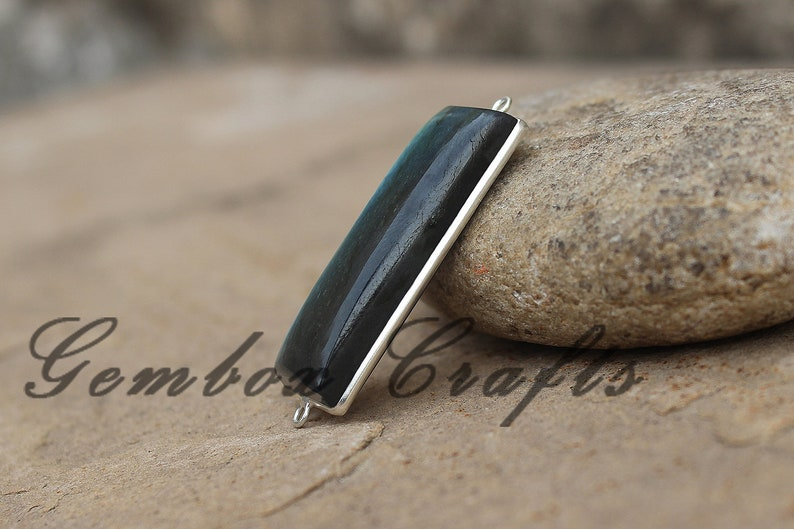 Natural Labradorite 13x44mm Rectangle Cabochon 925 Sterling Silver Plated Bezel Connector