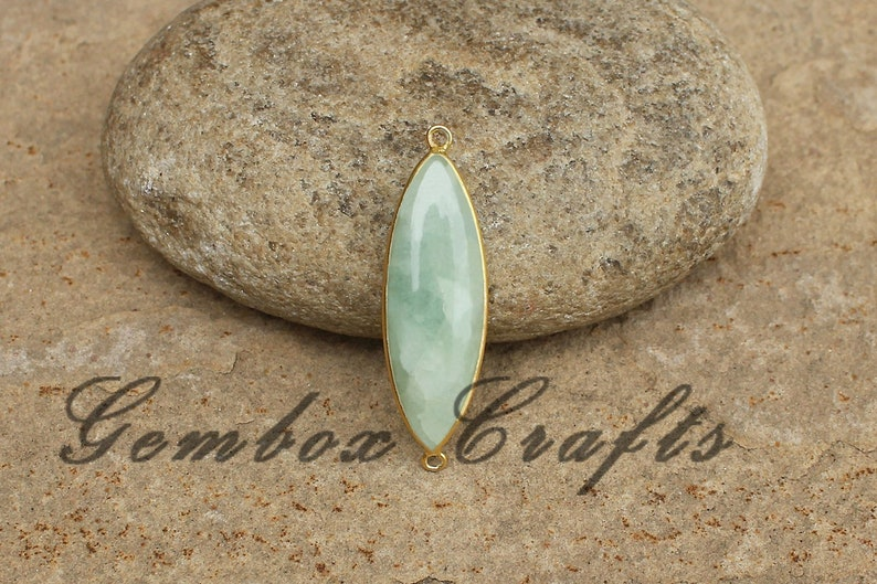 Natural Milky Aquamarine 10x25mm Marquise Cabochon 925 Sterling Silver Gold Plated Bezel Connector